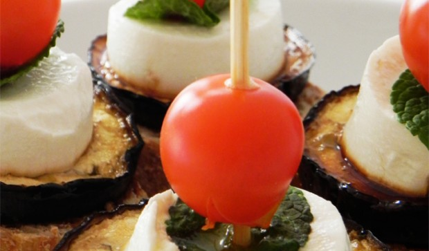 Grilled Aubergine with Goat Cheese, Mint & Cherry Tomatoes