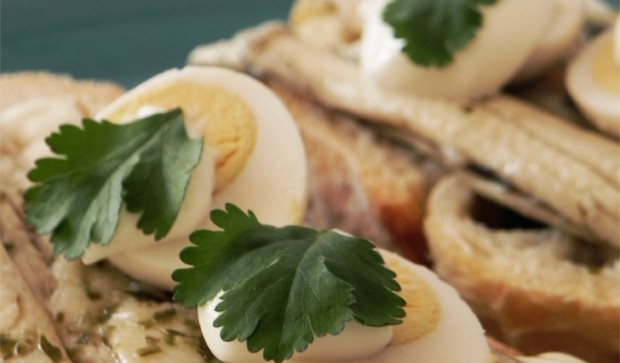 Marinated Anchovies in Vinegar with Alioli and Bolied Quail Eggs