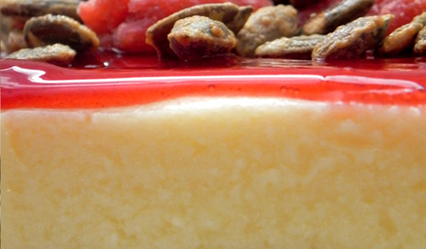 Strawberry Cheesecake with Pumpkin Seeds